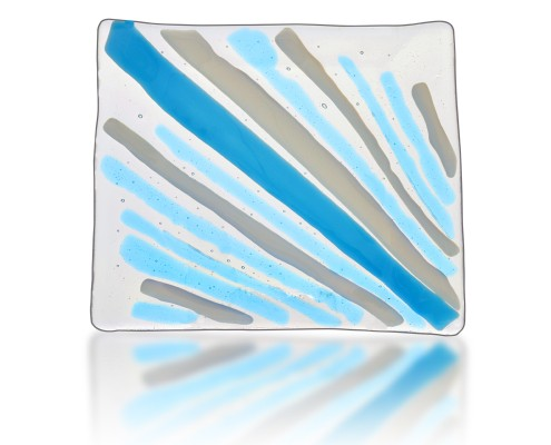 Platter Glass Fusion in Aqua and Grey by Fire Glass Studio