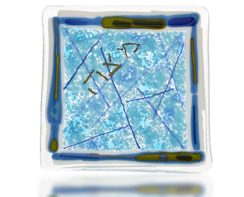 Matza Plate Glass Fusion in Aqua by Fire Glass Studio