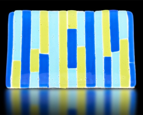 Plate with Blue, Aqua and Yellow Bars by Fire Glass Studio