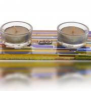 Tea Light Holder Glass Fusion in Earth Tones for Shabbat by Fire Glass Studio