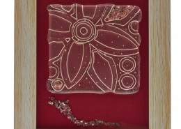 Wall Art Glass Fusion with Flower by Fire Glass Studio