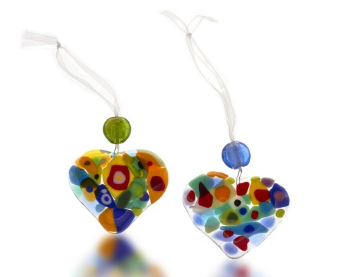 Sun Catcher Glass Fusion with Glass Heart by Fire Glass Studio
