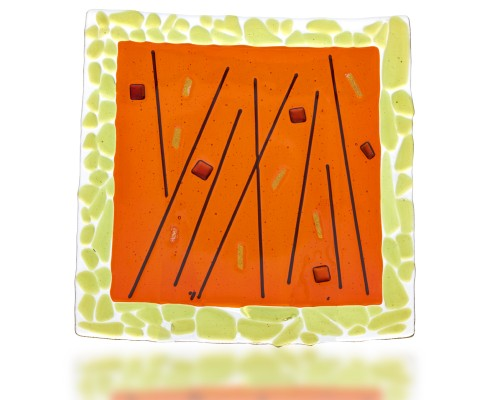 Plate Glass Fusion in Green and Orange by Fire Glass Studio