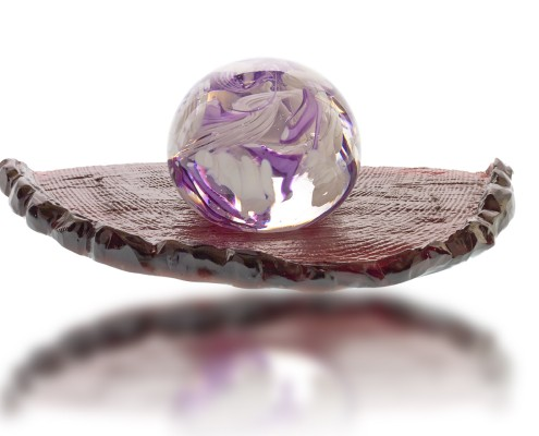 fire-glass-studio-purple--glass-globe-on-course-balancing-plate