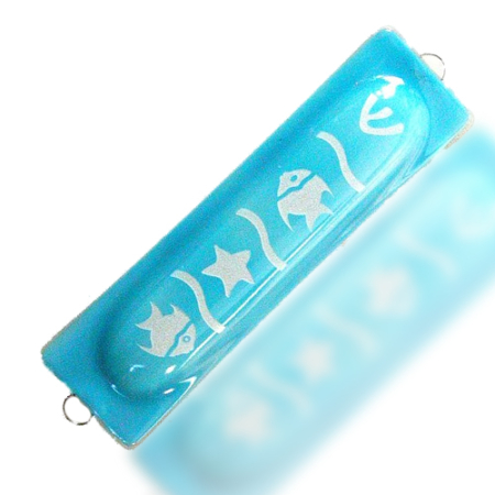 Mezuzah Tube Glass Fusion with Aqua Fish by Fire Glass Studio