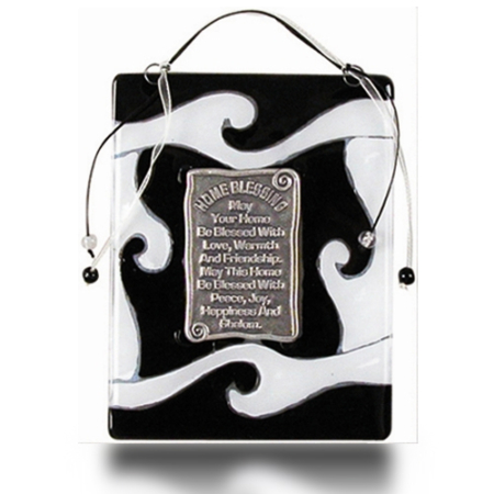 Home Blessing Glass Fusion with Black and White Waves by Fire Glass Studio