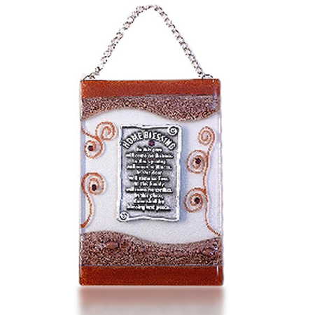 Home Blessing Glass Fusion in English with Brown Swirl by Fire Glass Studio