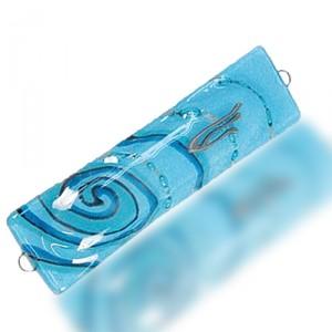 Fire Glass Studio Light Blue Waves Fused Glass Mezuzah 7005