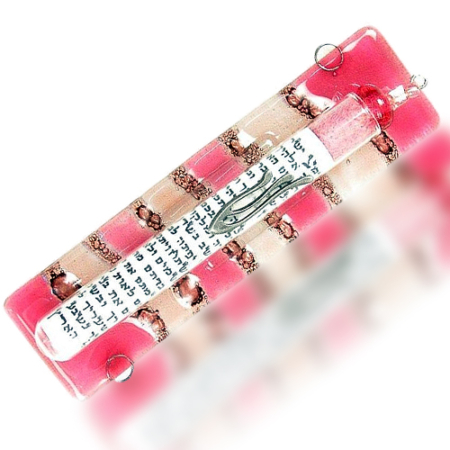 Fire Glass Studio Rose Wave Fused Glass Tube Mezuzah 7252