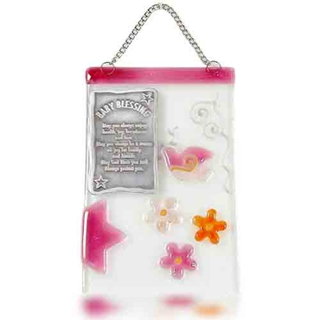 Home Blessing Glass Fusion in English with Rose Dove for Baby by Fire Glass Studio
