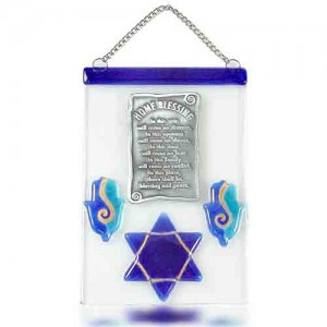 Home Blessing Glass Fusion with Blue Star of David by Fire Glass Studio