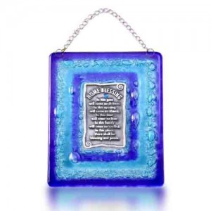 Home Blessing Glass Fusion in English with Blue Frame by Fire Glass Studio