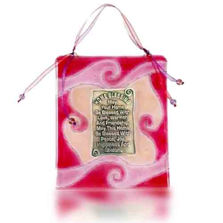 Fire Glass Studio Home Blessing Rose Waves Fused Glass 1040