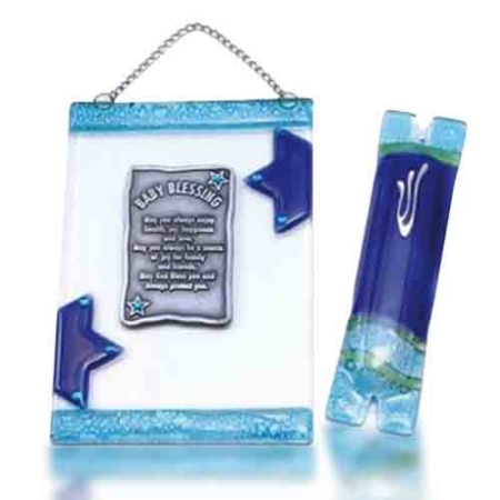 Home Blessing Set Glass Fusion with Blue Stars for Baby by Fire Glass Studio