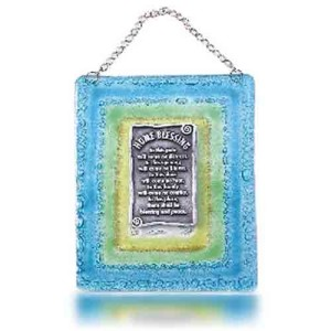 Home Blessing Glass Fusion in English with Aqua Frame by Fire Glass Studio