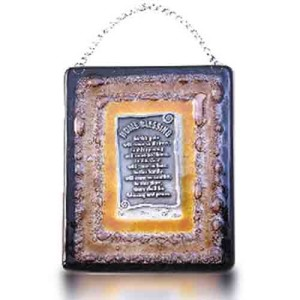Home Blessing Glass Fusion in English with Brown Frame by Fire Glass Studio
