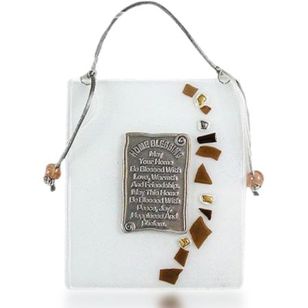Fire Glass Studio White With Glass Flakes Fused Glass Plaque Home Blessing 1069