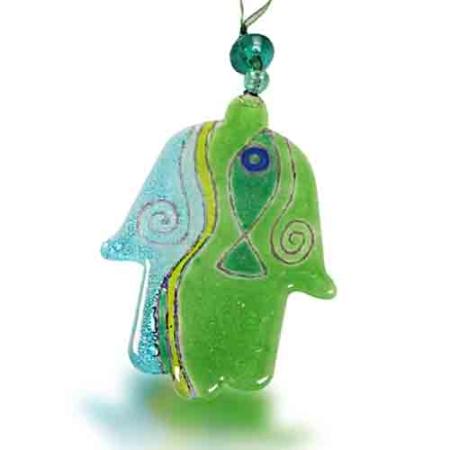 Fire Glass Studio Handmade Green Fish Fused Glass Hamsa 8040