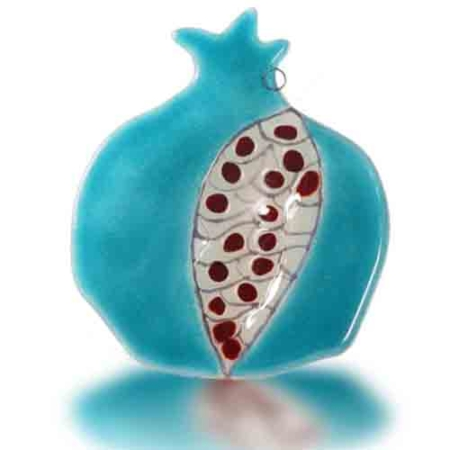 Pomegranate Hamsa Glass Fusion with Aqua with Red Grain by Fire Glass Studio