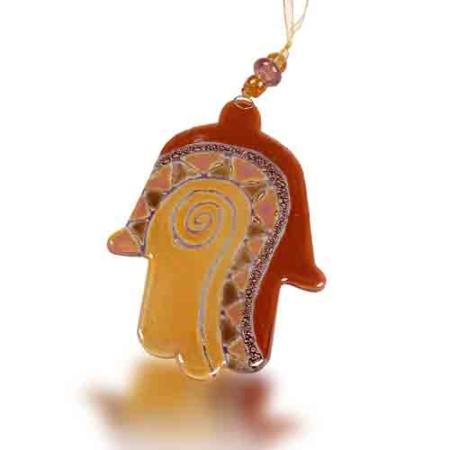 Fire Glass Studio Handmade Amber Swirl Fused Glass Hamsa 8100