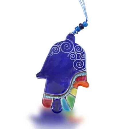 Fire Glass Studio Handmade Blue Rainbow Fused Glass Hamsa 8146