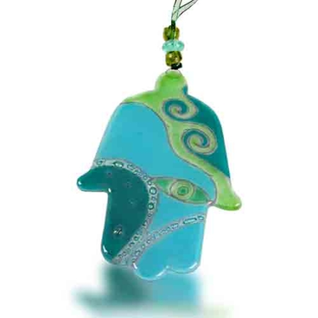 Hamsa Glass Fusion with Jade Eye by Fire Glass Studio