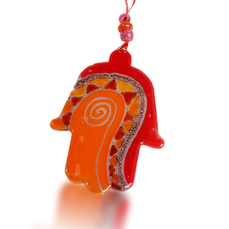Hamsa Glass Fusion with Red and Orange Swirl by Fire Glass Studio