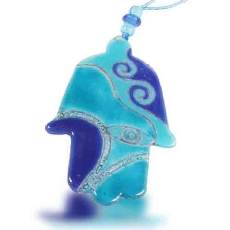 Fire Glass Studio Handmade Fused Glass Turquoise Eye Hamsa 8030