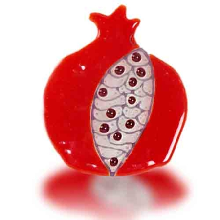 Fire Glass Studio Red Grain Fused Glass Pomegranate Hamsa 8219
