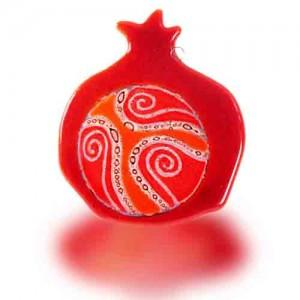 Fire Glass Studio Red Inside The World Fused Glass Pomegranate Hamsa 8211