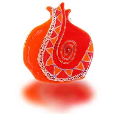 Hamsa Glass Fusion Pomegranate Swirl Red And Orange By Fire Glass Studio