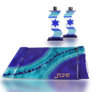 Candle Holder Tray Set with Glass Fusion in Blue Aqua for Shabbat by Fire Glass Studio