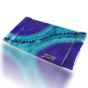 Challa Tray Glass Fusion with Blue and Aqua Flakes by Fire Glass Studio