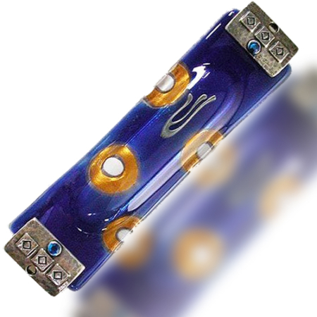 Fire Glass Studio Blue And Gold Fused Glass Circles Mezuzah 7306