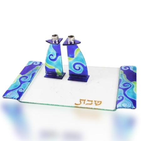 Candle Holder Tray Set Glass Fusion in Blue and Green Waves for Shabbat by Fire Glass Studio