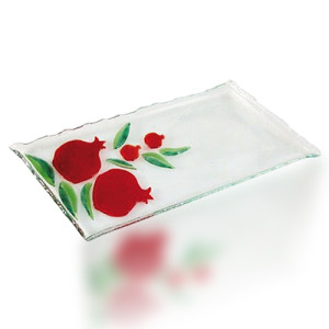 Serving Tray Glass Fusion with Pomegranate Design by Fire Glass Studio