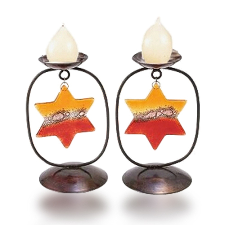 Candle Holders Glass Fusion and Iron with Red Star of David by Fire Glass Studio