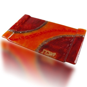 Fire Glass Studio Red And Orange Fused Glass Challa Tray 2021