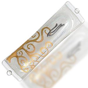 Fire Glass Studio Small Gold Tree Of Life Fused Glass Mezuzah 7344