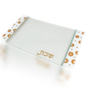 Challa Tray Glass Fusion in White with Gold Edge by Fire Glass Studio