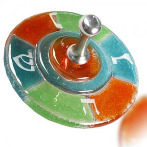 Dreidel Glass Fusion Round in Jade, Green and Orange by Fire Glass Studio