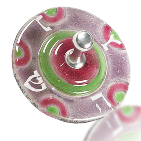 Dreidel Glass Fusion Round in Rose and Green by Fire Glass Fusion