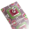 Dreidel Glass Fusion Square in Rose and Green by Fire Glass Studio