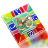 Dreidel Glass Fusion Square with Rainbow by Fire Glass Studio