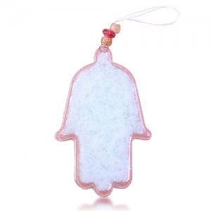 Hamsa Glass Fusion in Pink for Baby by Fire Glass Studio