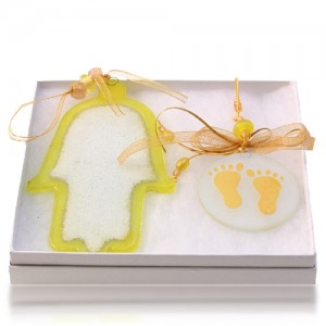 Hamsa Set Glass Fusion in Yellow for Baby by Fire Glass Studio