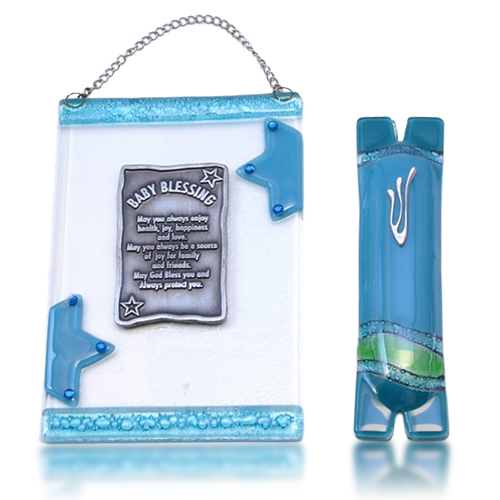 Home Blessing Set Glass Fusion with Aqua Stars for Baby by Fire Glass Studio
