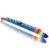 Menorah Glass Fusion with Aqua and Rainbow Base and Hamsa Cups by Fire Glass Studio