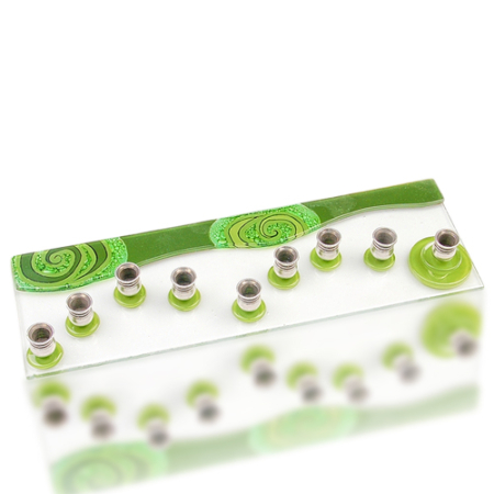 Menorah Glass Fusion with Two Tone Green Wave by Fire Glass Studio