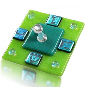 Dreidel Glass Fusion Square with Green Dichoric Glass by Fire Glass Studio